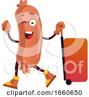 Poster, Art Print Of Sausage With Big Red Suitcase