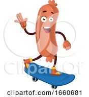 Poster, Art Print Of Sausage With Blue Skateboard
