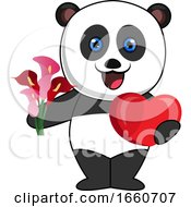 Poster, Art Print Of Panda With Heart And Flower