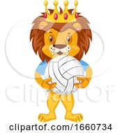 Lion With Volleyball