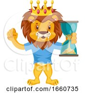 Lion With Sand Clock