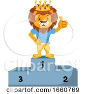Lion On Winning Stage