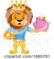 Lion With Piggy Bank
