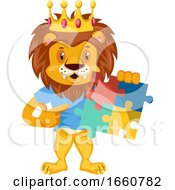 Poster, Art Print Of Lion With Puzzle