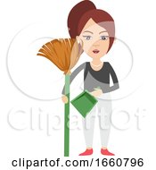 Woman With Dust Pan
