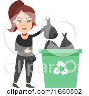 Woman Taking Out Trash
