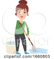 Woman With Cleaning Mop