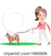 Woman Walking Dog by Morphart Creations