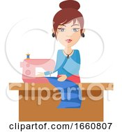 Poster, Art Print Of Woman With Knitting Machine