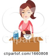 Woman Cooking With Milk