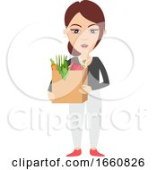 Woman Holding Bag With Groceries