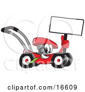 Clipart Picture Of A Red Lawn Mower Mascot Cartoon Character Holding Up A Blank Sign While Passing By by Toons4Biz