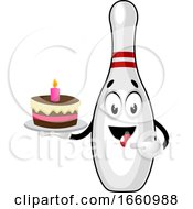 Bowling Pin With Birthday Cake