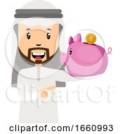 Arab With Piggy Bank