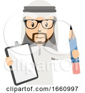 Arab With Notebbok And Pen