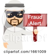 Arab With Fraud Alert Sign