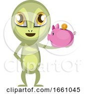 Alien Holding Piggy Bank