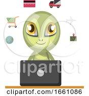 Alien Working On Laptop