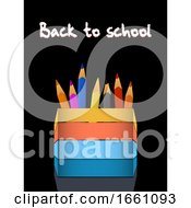 Poster, Art Print Of Coloured Pencils And Pencil Holder With Back To School Text