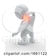 3D Male Figure Holding His Neck In Pain