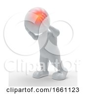 3D Male Figure With Head Highlighted In Pain
