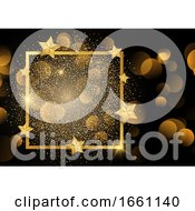 Gold Border On Glitter Background With Stars