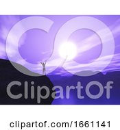 3D Female Stood On Cliff With Arms Raised In Joy Against Sunset Landscape