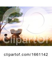 3D Landscape With Boy And Baby Elephant Sat Under A Tree