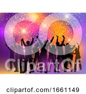 Poster, Art Print Of Party Crowd On An Abstract Background With Confetti