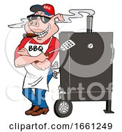 Bbq Pig Smoking A Cigar And Leaning Against A Smoker