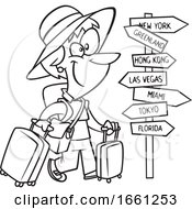 Cartoon Outline Lady World Traveler