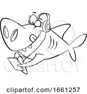 Cartoon Outline Sister Shark Wearing Headphones