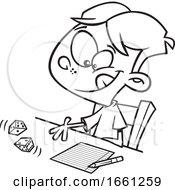 Cartoon Outline Boy Rolling Dice