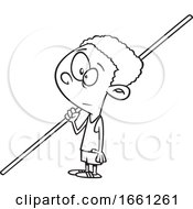Cartoon Outline Black Boy Pole Vaulter