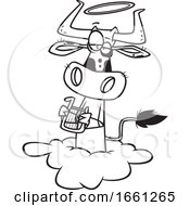 Cartoon Outline Holy Cow Angel On A Cloud
