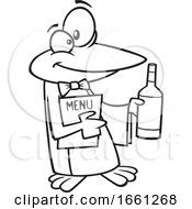 Cartoon Outline Maitre D Penguin Holding Wine And A Menu