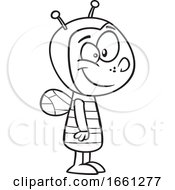 Cartoon Outline Boy In A Bee Costume