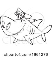 Cartoon Outline Brother Shark by toonaday