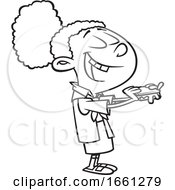 Cartoon Outline Black Brownie Girl Eating Smores