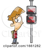 Cartoon White Boy Waiting At A Crosswalk