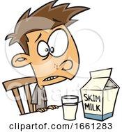 Cartoon Disgusted White Boy Drinking Skim Milk by toonaday