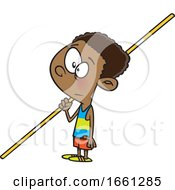 Cartoon Black Boy Pole Vaulter