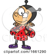 Cartoon Girl In A Ladybug Costume by toonaday