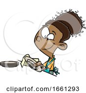 Cartoon Black Girl Drying Dishes