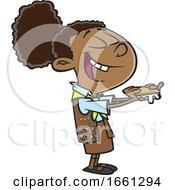 Cartoon Black Brownie Girl Eating Smores