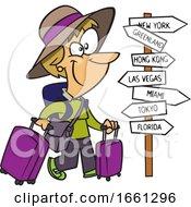 Cartoon White Lady World Traveler