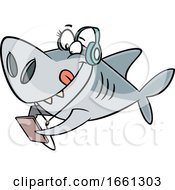 Cartoon Sister Shark Wearing Headphones