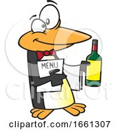 Cartoon Maitre D Penguin Holding Wine And A Menu