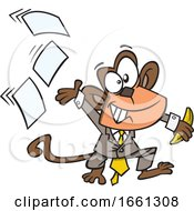 Cartoon Business Monkey Tossing Papers