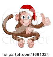 07/31/2019 - Christmas Monkey Cartoon Character In Santa Hat